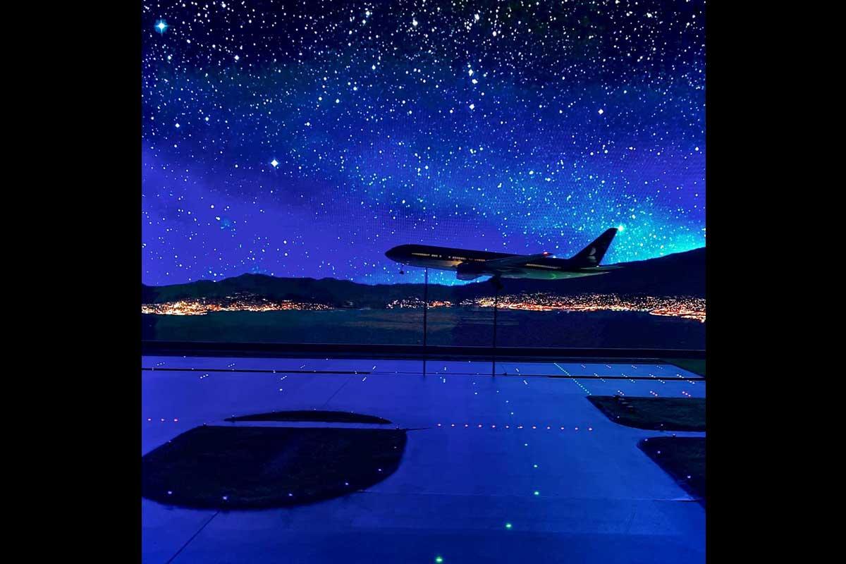 Landing under the starry sky