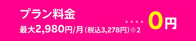 プラン料金1年無料 最大2,980円/月(税込3,278円)※2・・・0円