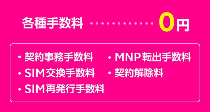 各種手数料・・・0円 ・契約事務手数料 ・SIM交換手数料 ・SIM再発行手数料 ・MNP転出手数料 ・契約解除料